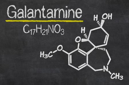 acetylcholine: Blackboard with the chemical formula of Galantamine