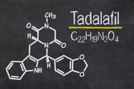 dysfunction: Blackboard with the chemical formula of Tadalafil