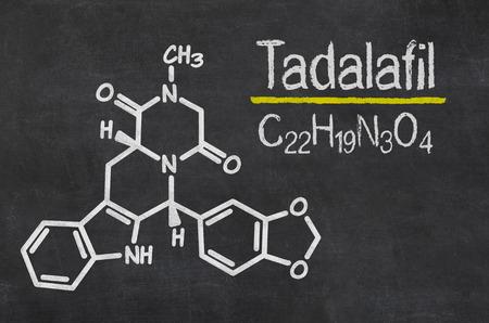 erectile: Blackboard with the chemical formula of Tadalafil