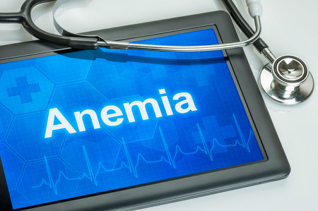 anemia: Tablet with the diagnosis Anemia on the display