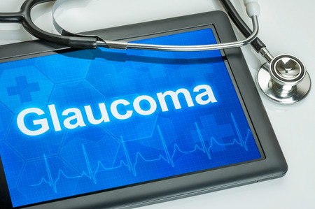 glaucoma: Tablet with the diagnosis Glaucoma on the display Stock Photo
