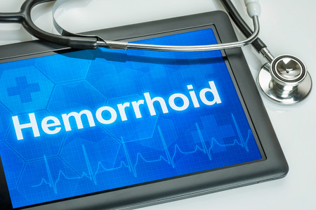 hemorrhoid: Tablet with the diagnosis Hemorrhoid on the display Stock Photo