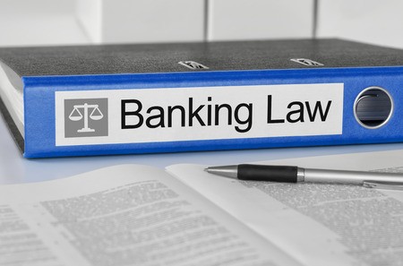 Blue folder with the label Banking Law photo