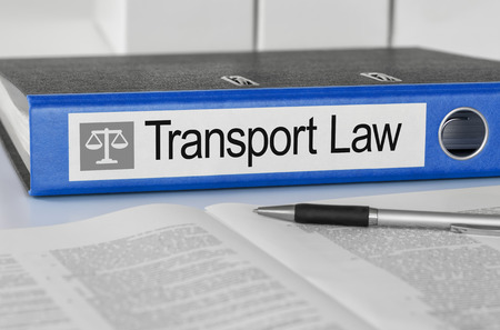 lawyer: Blue folder with the label Transport Law