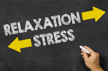 Relaxation or Stress written on a blackboard photo