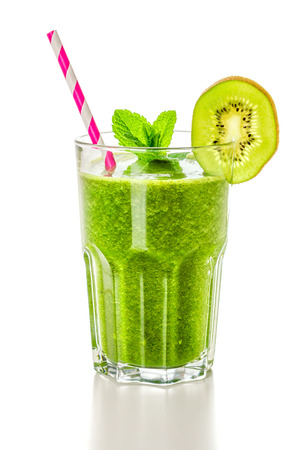 green and white: A green smoothie on a white background