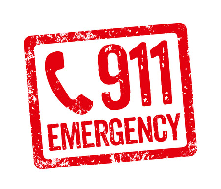 emergency number: Red Stamp - Emergency Stock Photo