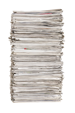 wastepaper: Isolated pile of newspapers on a white background Stock Photo