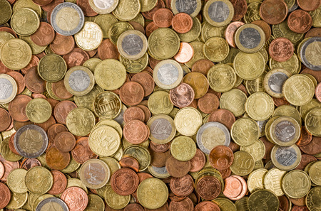 Background with many euro coins Stok Fotoğraf