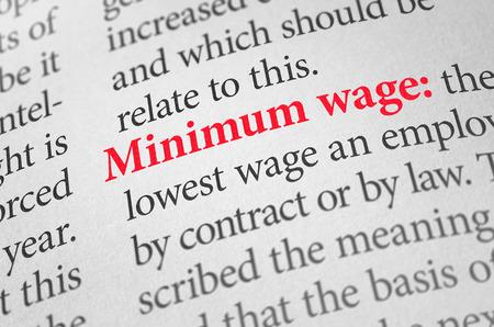 사전에 단어 최저 임금의 정의