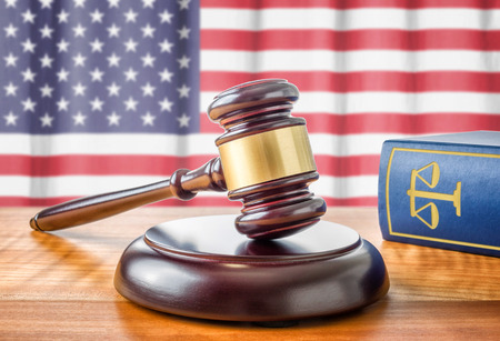 amendment: A gavel and a law book - USA Stock Photo