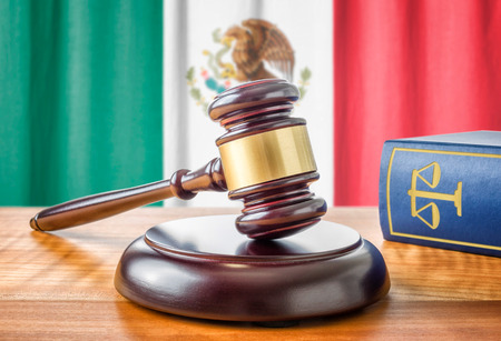 judge hammer: A gavel and a law book - Mexico Stock Photo
