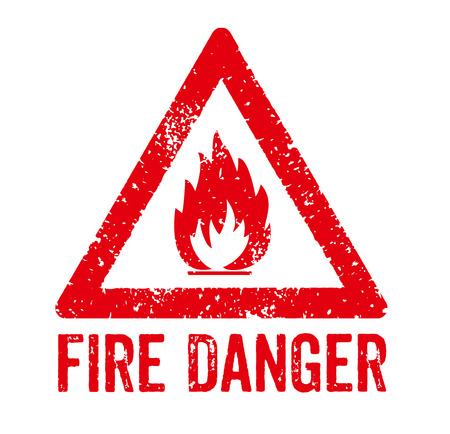 Stamp Rouge - Danger d'incendie Banque d'images - 42104103