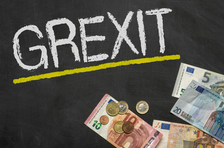 Blackboard with money - Grexit