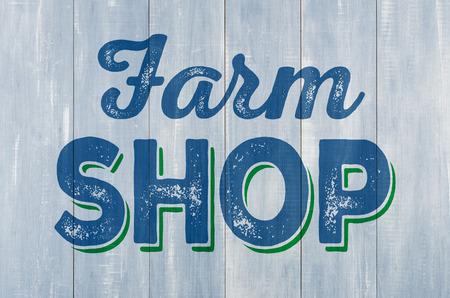 farm shop: Blue wooden wall with the inscription Farm Shop