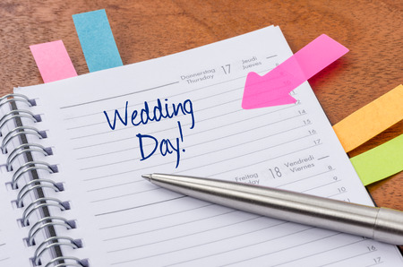 event planner: Daily planner with the entry Wedding Day