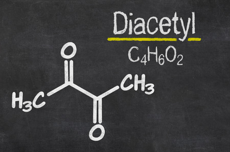lung disease: Blackboard with the chemical formula of  Diacetyl
