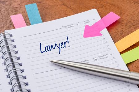 kalendarz: Dzienny Zaplanuj z prawnikiem wejściowej Zdjęcie Seryjne