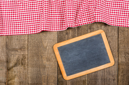 menue: Blackboard with red checked cloth