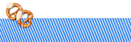 menue: Banner with pretzels and a bavarian decor