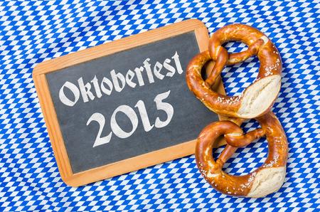 menue: Chalkboard with a bavarian decor - Oktoberfest 2015