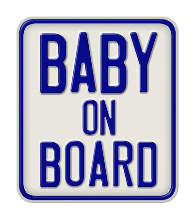 bebe a bordo: Muestra del metal con la inscripción del bebé a bordo