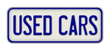 metal plate: Metal sign with the inscription Used cars