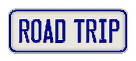 route: signe en métal avec l'inscription Road Trip Banque d'images