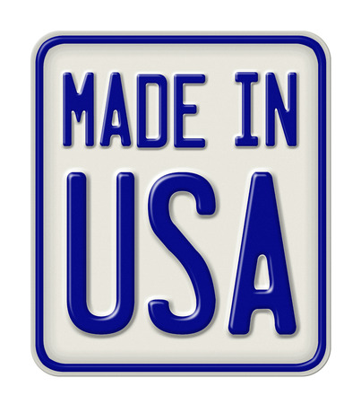 metal sign: Metal sign with the inscription Made in USA Stock Photo