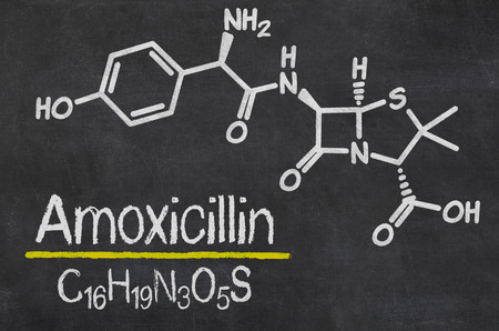 chemical formula: Blackboard with the chemical formula of Amoxicillin