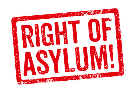 stamp: Red stamp - Right of Asylum Stock Photo