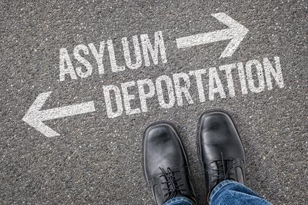 Decision at a crossroad - Asylum or Deportation Stock Photo