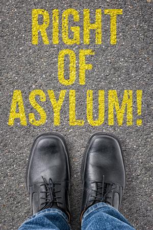 asylum: Text on the floor - Right of Asylum