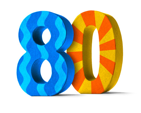 80 years: Colorful Paper Mache Number on a white background  - Number 80