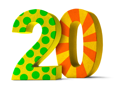 paper mache: Colorful Paper Mache Number on a white background  - Number 20 Stock Photo