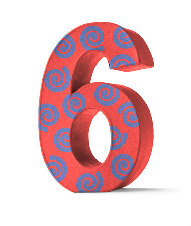 paper mache: Colorful Paper Mache Number on a white background  - Number 6 Stock Photo