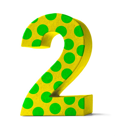 second birthday: Colorful Paper Mache Number on a white background  - Number 2 Stock Photo