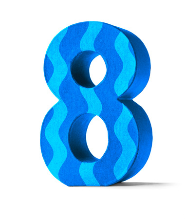 birthday cards: Colorful Paper Mache Number on a white background  - Number 8