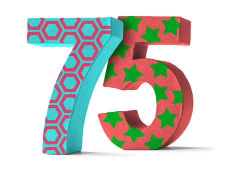 paper mache: Colorful Paper Mache Number on a white background  - Number 75 Stock Photo