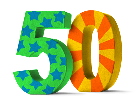 50th: Colorful Paper Mache Number on a white background  - Number 50 Stock Photo
