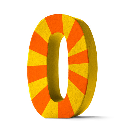paper mache: Colorful Paper Mache Number on a white background  - Number 0 Stock Photo