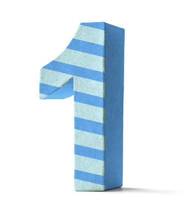 1: Colorful Paper Mache Number on a white background  - Number 1
