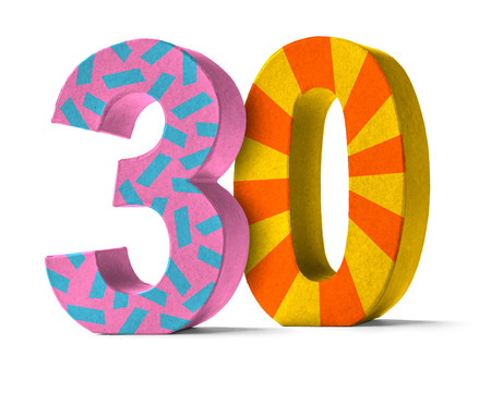 paper mache: Colorful Paper Mache Number on a white background  - Number 30