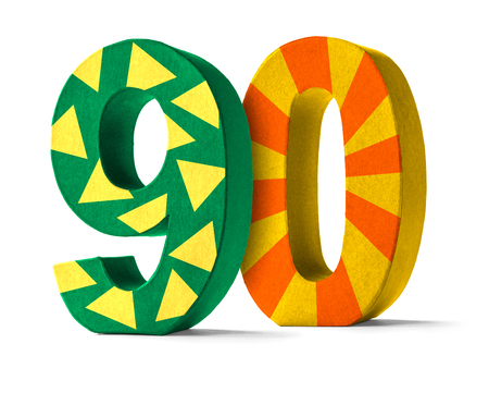 90th: Colorful Paper Mache Number on a white background  - Number 90