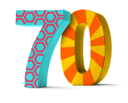 seventieth: Colorful Paper Mache Number on a white background  - Number 70
