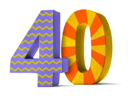 paper mache: Colorful Paper Mache Number on a white background  - Number 40 Stock Photo