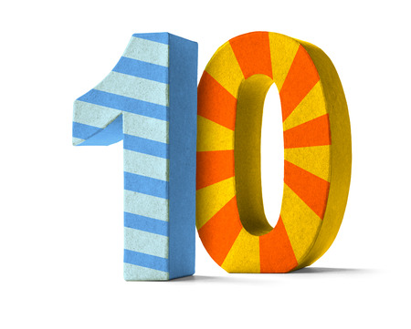 Colorful Paper Mache Number on a white background  - Number 10 Standard-Bild