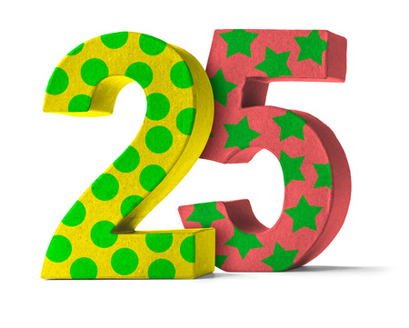 25: Colorful Paper Mache Number on a white background  - Number 25