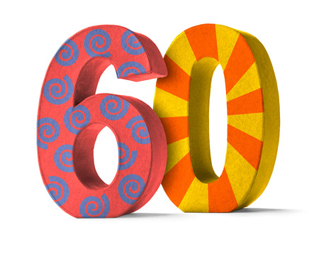 sixty: Colorful Paper Mache Number on a white background  - Number 60 Stock Photo