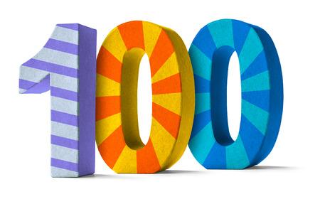 数 100 - 白地にカラフルな紙張り子数
